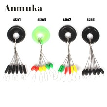 Anmuka 14sizes 10 Set (6 Beans in 1 Set) Black /Multi Rubber Oval Stopper Fishing Bobber Float Fishing Accessories(China)