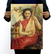 51*35.5cm Vintage Style Paper Poster Retro Wall Stickers old shanghai girl China style J&Y Decoration paper poster