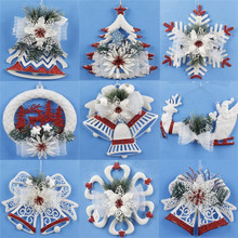 Red/White Christmas Tree pendant Bell Gift Wreath design home party decoration hanging ornament decor Bowtie Snowflake festival