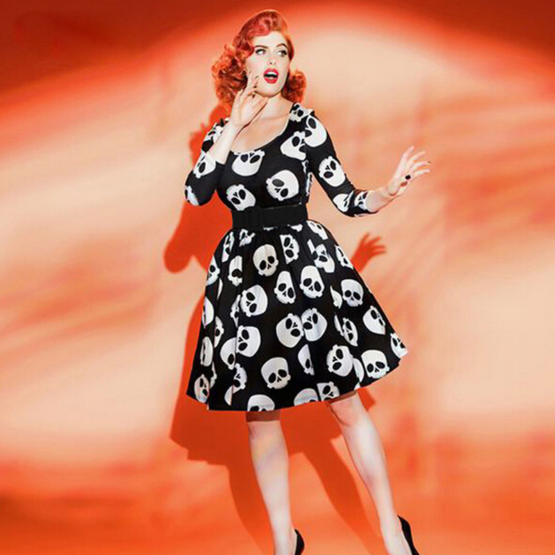 Plus Size Women Summer Cotton Dress Ukraine Vestidos Party Sexy Dresses 3XL Elegant Vintage Ball Gown Skulls Vestido De Festa