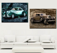 Vintage car decorative canvas painting oldtimer classic car Indoor decorative paintings Art hall exhibition wall hanging OM(China)