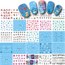 1 Sheet Christmas Snow Flower Nail Art Water Transfer Stickers Decals Tattoo Watermark Nail Tips Decor Xmas Gift LASTZ415-439(China)