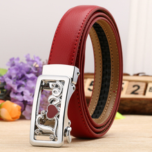 [BATOORAP]2017 New Woman Automatic Buckle Genuine Leather Belt Fashion Belts Red Elgant Casual Woman Waistband Promotion(China)