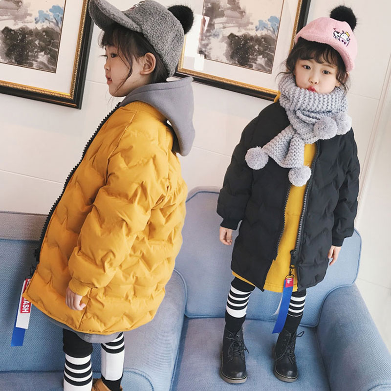 2017 Autumn Winter Hooded Jacket For Childrens Girl Long Version Fashion Warm Outerwear Girls Coats Toddler Baby Clothing 3-10T<br>