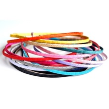10pcs/lot 16colors 5MM Wide Metal Hard Headbands Ribbon Kids Headband For Girls Satin Hairbands For Hair Accessories DIY(China)