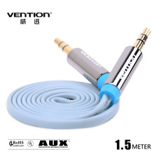 Vention  Flat wire 3.5mm 1.5M Gold Plated Stereo audio cable Car AUX Cable  For Car PC Tablet MP3 Cell phone Audio Cable
