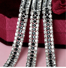 1 yard 3 Rows Crystal + Black Rhinestone Cup Chain Silver Base With Claw Dress Decoration Trim Applique Sew on Garment Bags