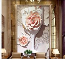 3d customized wallpaper photo 3d wallpaper European style Relief Flower Glasses 3D Frescoes mural 3d wallpaper(China)