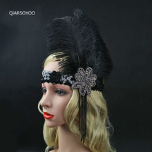 Black Rhinestone Beaded Sequin Elastic Hair Band Vintage Costume Party Headwear Women Flapper Feather Headband