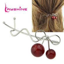 Kayshine New Charming Hair Jewelry Gold-Color Silver Color Bowknot Red Bead Cherry Hairpins Fashion Hairwear