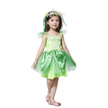 Novelties Green elf Sprite Dress Leg Avenue Neverland Tinkerbell Garden Faily Kids Cosplay Costume Lovely Woodland Fairy Dress(China)