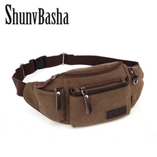 Canvas Waist Bag Shoulder Strap Fanny Pack Men Fashion Chest Pack Purse Mobile Phone Case Put Wallet