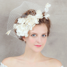 Handmade White Headdress Wedding Fascinators Veil Bridal Hair Band Flower Floral Pearl Headpieces For Women Hair Accessories