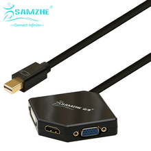SAMZHE Rhombic Mini DP Adapter Cable transfer to HDMI/VGA/DVI 1080P white and black Digital Cable Adapter