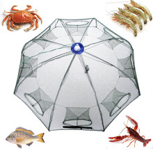 93 * 93cm Folded Automatic Fishing Net 8Holes Fishing Shrimp Trap Cage Crab Baits Cast Mesh Trap Fishing Network Redes De Pesca
