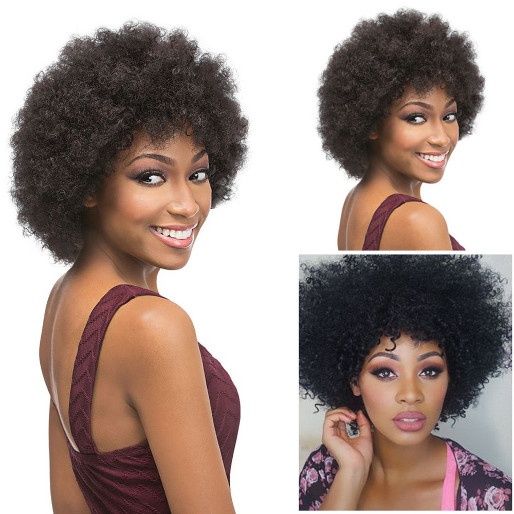 Cheap Afro Kinky Curly Synthetic Wig African American Short Wigs For Black Women Short Curly Female Wig Fashion Party Wigs<br><br>Aliexpress