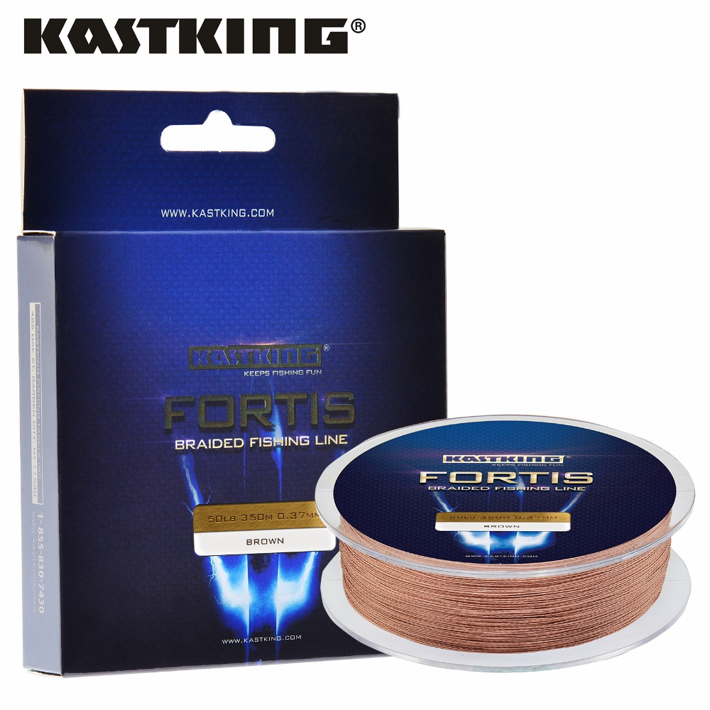 KastKing Fortis 4 Strands 8-80LB 320M/350Yards PE Braided Fishing Line Brown/Yellow/Blue/Green/Pink Carp Fishing Line(China (Mainland))