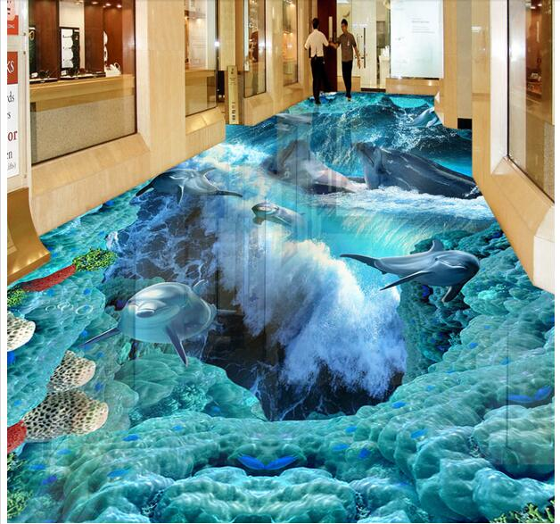 3d pvc flooring custom photo self adhesion waterproof floor sea world dolphin painting picture room wallpaper for walls 3d<br>
