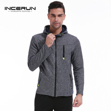 INCERUN 2017 Fashion Hoodies Men Zipper Jacket Casual Cotton Fleece Sporting Hoody Male Hoody Full Zip Up Hooded Sweatshirt Coat