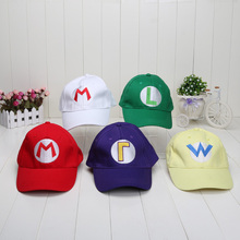 5 colors Super Mario baseball Hat Cap Adjustable Mario Luigi Wario Waluigi Baseball Hat Kid'd Caps(China)