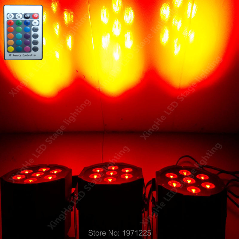 (4pcs) Wireless remote control led Luxury DMX 7 Channels Led Flat Par Light 7x9W RGB 3IN1<br>