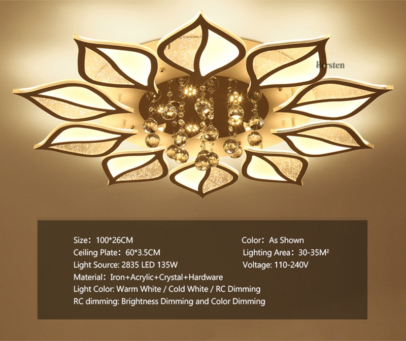 Modern Luxury Crystal LED Ceiling Chandelier Lights With Remote Control Living Room Bedroom Light Acrylic Ceiling Lamp Home Lighting 220V (13)