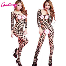 Buy 2017 Women Sexy Lady's Net Fishnet Lingerie Clothing Open Crotchless Fishnet Body suit Body Stocking hot sexy mesh bodystockings