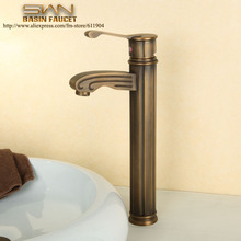Quality Antique Brass Bathroom Faucet Lavatory Bar Vessel Sink faucets Basin Cold Hot Mixer Tap Water Taps Roman Columns Design