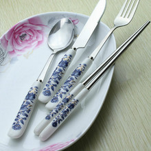 4pcs New Blue-and-White Porcelain Set Stainless Steel Dinnerware Ceramic Handle Cutlery Upscale Gift Sets(China)