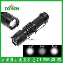 high-quality Mini Black CREE 800LM Waterproof LED Flashlight 1 Modes Zoomable LED Torch penlight torchlight 3001