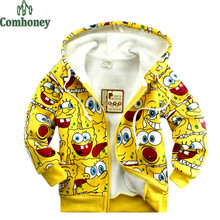Baby Jacket Spongebob Sweatshirt Coat For Girls Boys Outerwear Autumn Winter Kids Fleece Coat Child Hooded Jacket Baby Cardigan