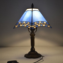Tiffany Table Lamp Mediterranean Sea Style Stained Glass Lamp for Bedroom E27 110-240V(China)