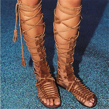 Boho Bohemian Style Newest Fashion Summer Boots Cross-Tie Fringe Flat Heel Gladiator Sandals Women Knee High Woman Shoes