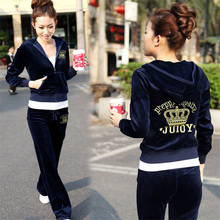 Spring Fall 2016 Women's Fashion Brand Velvet Fabric Tracksuits Velour Suit Track Suit Hoodies And Pants Plus Size XL XXL