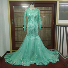 ZGS775 vestido de festa Beautiful Luxury Evening Gowns Vintage Sequins Lace Green Long Sleeves Mermaid Evening Dresses 2017