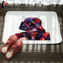 Miracille Floor Mat Colorful Star Wars Print Carpet Coral Velvet Shower Bathroom Mat Toilet Rugs Kitchen Mat Home Decoration
