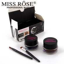 MISS ROSE 2 in 1 Brown + Black Gel Eyeliner Make Up Water-proof And Smudge-proof Cosmetics Set Eye Liner Kit in Eye Liner Makeup(China)