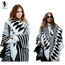 2017 Autumn cozy sweater women Multi-worn black and white printing Knit Cashmere loose scarf shawl poncho Cardigan Female