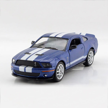 Mustang Shelby GT500 SVT Cobra Blue 1/38 alloy model car Sports car Diecast Metal Pull Back Car Toy For Gift Collection(China)