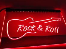 LB303- Rock and Roll Guitar Music NEW   LED Neon Light Sign     home decor  crafts