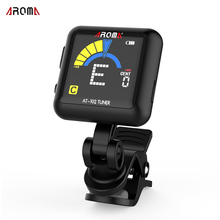 AROMA AT-102 Rotatable Clip-on Guitar Tuner Color Screen Electronic Tuner with Built-in Battery USB Cable for Chromatic Guitar