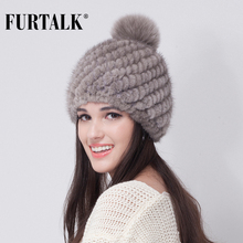 FURTALK Russian Real mink fur hat for women winter knitted mink fur hats beanie cap fox fur pom pom hat for girls