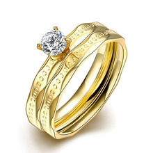 Fashion Double Spin Frosted Rings Stainless Steel Wedding Pair Ring Cover Set For Women Men CX17