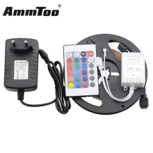 5M SMD 2835 RGB LED Strip Light 60Leds/M Flexible Led Stripe Fita De Led / 24Keys Remote Controller / DC12V 2A 24W Power Adapter