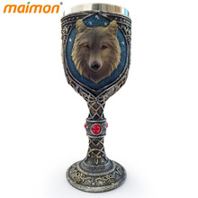 Double Wall Resin Stainless Steel Wolf King Drinking Mug 150ml Personalized 3D Wolf Head Metal Wine Goblet Cup