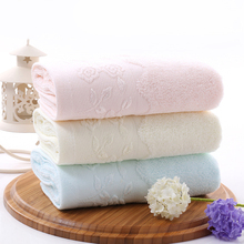 New Hot Solid color 35*75 Embroidered Soft Cotton Face Flower Towel Cotton Quick Dry Beach Towels