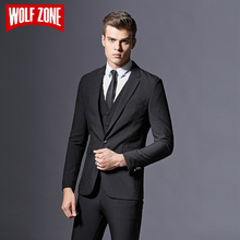 Top Fashion Brand Mens Suit Formal Business Blazer Men Groom Three Pieces Slim Fit Party Jacket Clothing Wedding Dress Pants(China)