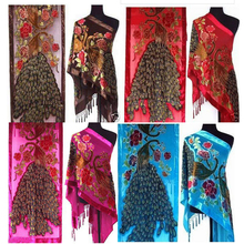 HOT TOP Fashion Lady Women Pashmina Peacock Beaded Velvet Silk Tassels Embroidered Scarf Wrap Shawl(China)