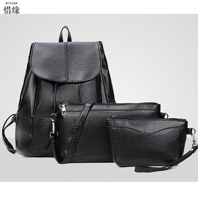 3pcs/set Famous Brand lady Backpack Women Backpacks female Solid Vintage Girls School Bags Black PU Leather ladies shoulder bag <br>