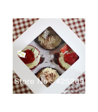 White four cups cake with bottom bracket cupcake /cupcakes box/boxes 10pcs wholesale